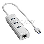 Sharkoon 3-Port USB 3.0 Alu Hub +RJ45 silber