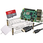 Raspberry Pi 4 B 4GB Starter Kit 32GB mSDHC 2m HDMI-Kabel Netzteil transparent